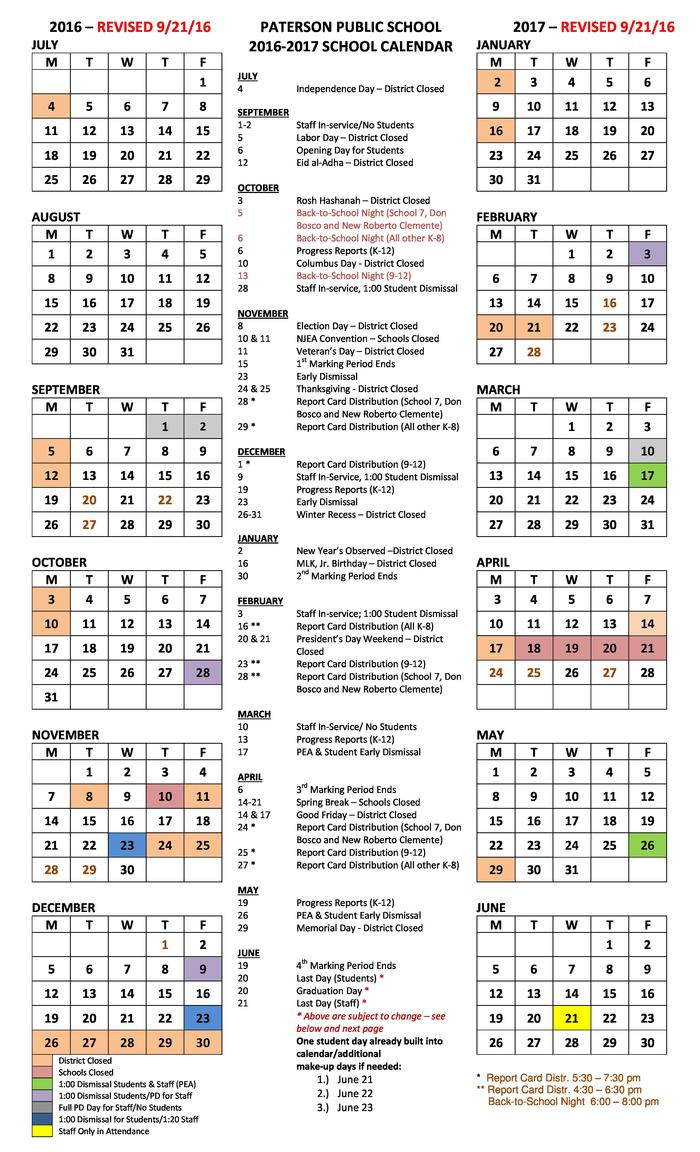 2016-2017 District Calendar